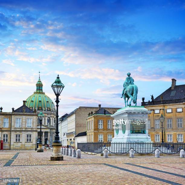 frederik v on horseback - amalienborg palace stock pictures, royalty-free photos & images