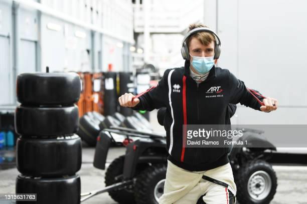 Frederik Vesti of Denmark and ART Grand Prix at warms up at the Circuit de Barcelona-Catalunya on April 21, 2021 in Barcelona, Spain.