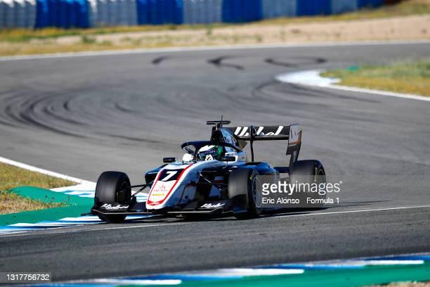 Frederik Vesti of Denmark and ART Grand Prix drives during day two of Formula 3 Testing at Circuito de Jerez on May 13, 2021 in Jerez de la Frontera,...