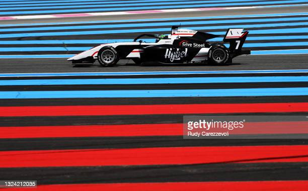 Frederik Vesti of Denmark and ART Grand Prix drives during qualifying ahead of Round 2:Le Castellet of the Formula 3 Championship at Circuit Paul...