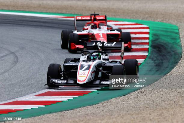 Frederik Vesti of Denmark and ART Grand Prix leads Dennis Hauger of Norway and Prema Racing during race 3 of Round 3:Spielberg of the Formula 3...