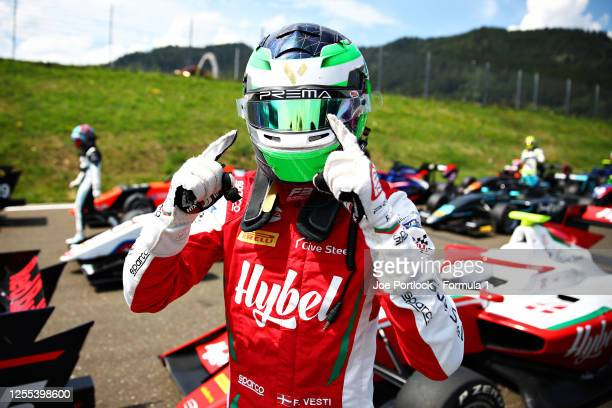 Frederik Vesti of Denmark and Prema Racing celebrates qualifying on pole position during qualifying for the Formula 3 Championship at Red Bull Ring...