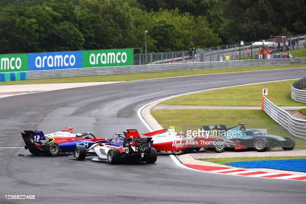Frederik Vesti of Denmark and Prema Racing , Olli Caldwell of Great Britain and Trident , Calan Williams of Australia and Jenzer Motorsport and Roman...