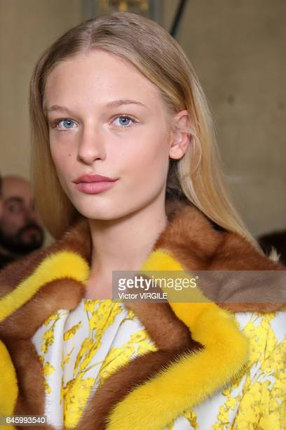 Frederikke Sofie backstage at the Blumarine Ready to Wear fashion show during Milan Fashion Week Fall/Winter 2017/18 on February 25 2017 in Milan...