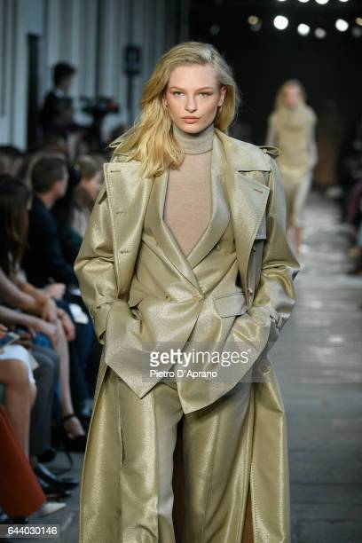 Frederikke Sofie FalbeHansen walks the runway at the Max Mara show during Milan Fashion Week Fall/Winter 2017/18 on February 23 2017 in Milan Italy
