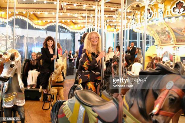 Frederikke Sofie rides a carousel at the Tiffany Co 2017 Blue Book Collection Gala at ST Ann's Warehouse on April 21 2017 in New York City