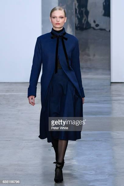 Frederikke Sofie walks the runway at Carolina Herrera show during New York Fashion Week on February 13 2017 in New York City