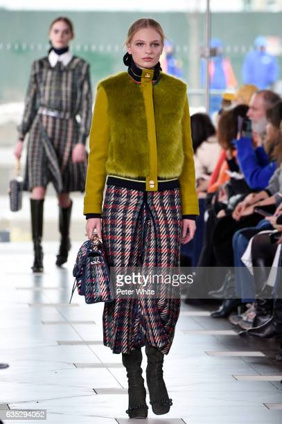 Frederikke Sofie walks the runway at the Tory Burch FW17 Show during New York Fashion Week at at The Whitney Museum of American Art on February 14...