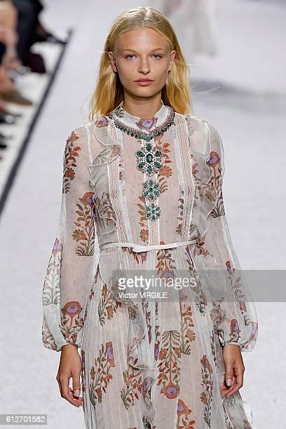 Frederikke Sofie walks the runway during the Gambattista Valli Ready to Wear fashion show as part of the Paris Fashion Week Womenswear Spring/Summer...