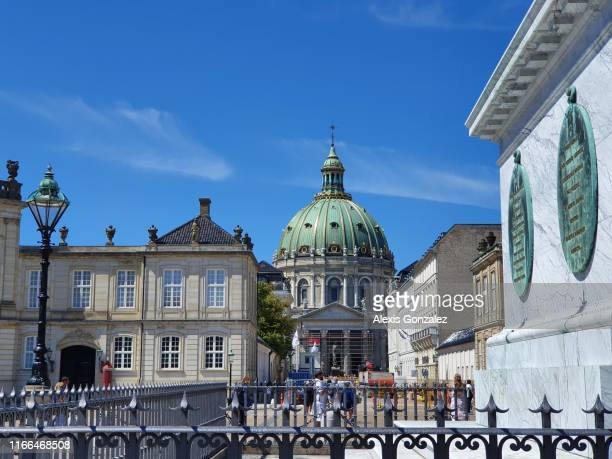 frederik's church from amalienborg square - amalienborg palace stock pictures, royalty-free photos & images