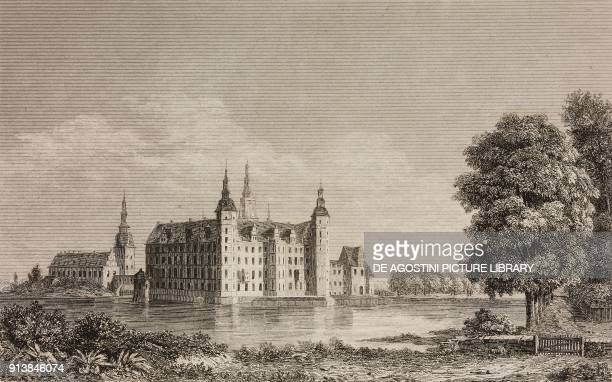 Frederiksborg Castle Denmark engraving by Lemaitre from Danemark by Eyres and Chopin L'Univers pittoresque published by Firmin Didot Freres Paris 1846