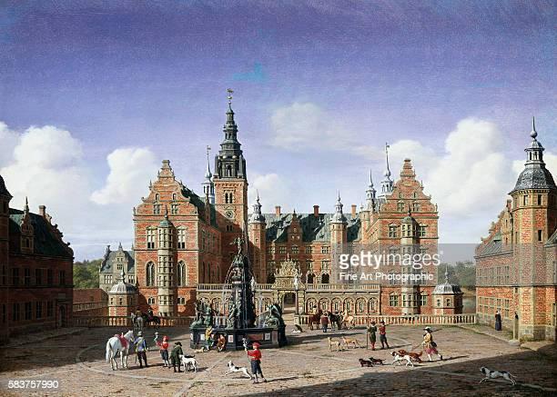 Frederiksborg Castle the Departure of the Royal Falcon Hunt by Heinrich Hansen