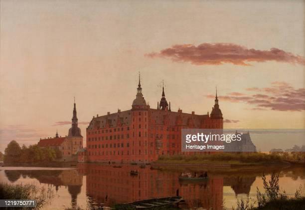 Frederiksborg Slot ved Aftenbelysning , 1835. Found in the Collection of Hirschsprung Collection. Artist Købke, Christen Schiellerup .