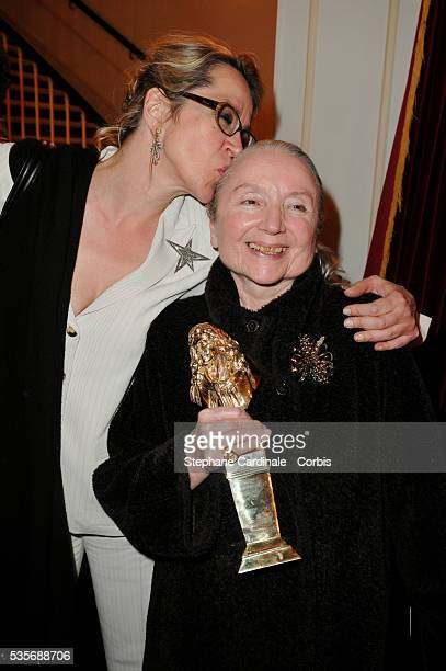 Frederique and her mother Monique Chaumette with her Moliere for Best Actress in a Supporting Role for Baby Doll at the 23rd Molieres Awards held at...