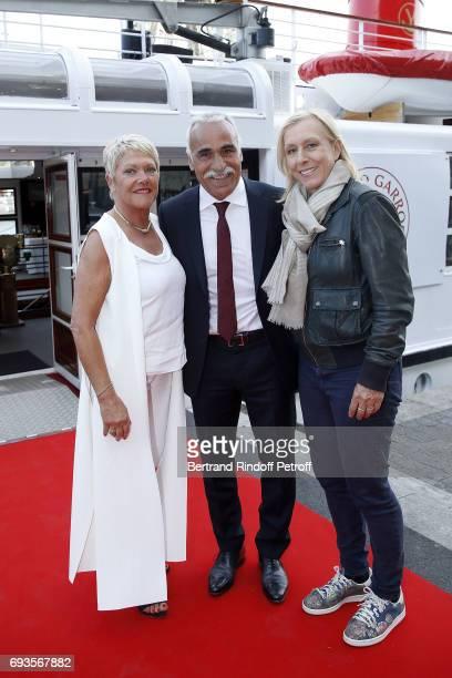 "Frederique Bahrami, Mansour Bahrami and Martina Navratilova attend ""Trophee des Legendes"" Dinner at Le Paquebot on June 7, 2017 in Paris, France."