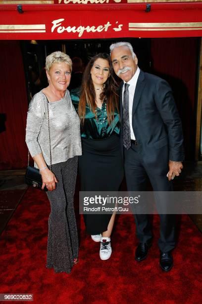 """Frederique Bahrami, Marion Bartoli and Mansour Bahrami attend """"Diner des Legendes"""" at Le Fouquet's on June 6, 2018 in Paris, France."""