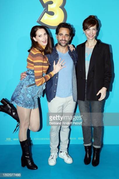 "Frederique Bel, Florent Peyre and Emilie Caen attend the ""Ducobu 3"" Premiere At Le Grand Rex on January 26, 2020 in Paris, France."