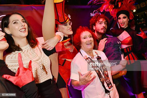 Frederique Bel former employee/writer Rita Gilligan and comedian Maxime Musqua attend 'Hard Rock Cafe Paris 25th Anniversary Celebration' at Hard...