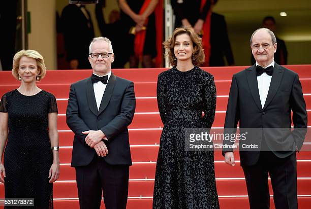 Frederique Bredin Director of the festival Thierry Fremaux Minister of the culture Audrey Azoulay and President of the Festival Pierre Lescure attend...
