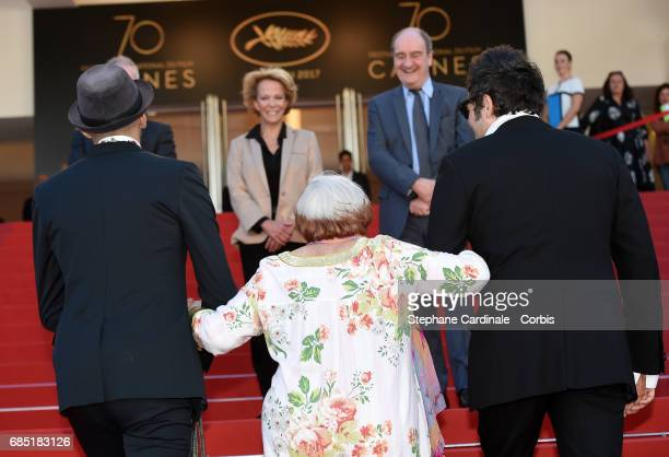 Frederique Bredin Pierre Lescure JR director Agnes Varda and composer Matthieu Chedid attend the Faces Places screening during the 70th annual Cannes...