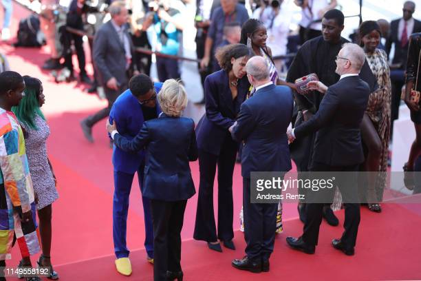 Frederique Bredin, President of the Cannes Film Festival Pierre Lescure and Thierry Fremaux, welcomes Director Mati Diop and the cast of of Atlantics...