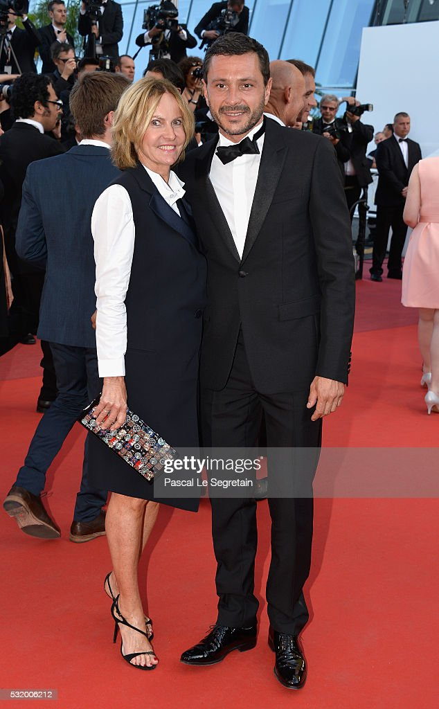 Frederique Fetiveau and a guest attend the 'Julieta' premiere during the 69th annual Cannes Film Festival at the Palais des Festivals on May 17, 2016 in Cannes, France.