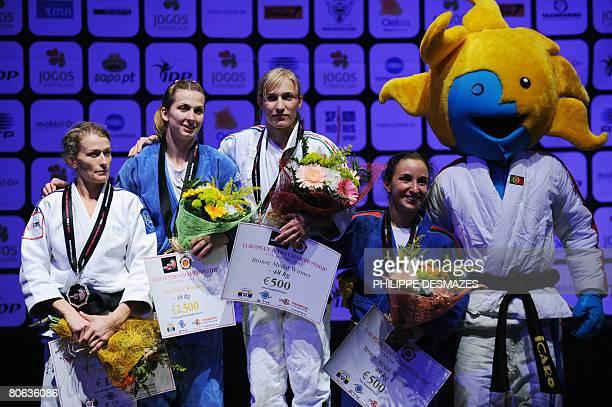 Frederique Jossinet of France Alina Dumitru of Romania Eva Csernoviczki of Hungria and Ana Hormigo of Portugal pose with their medals in the women's...