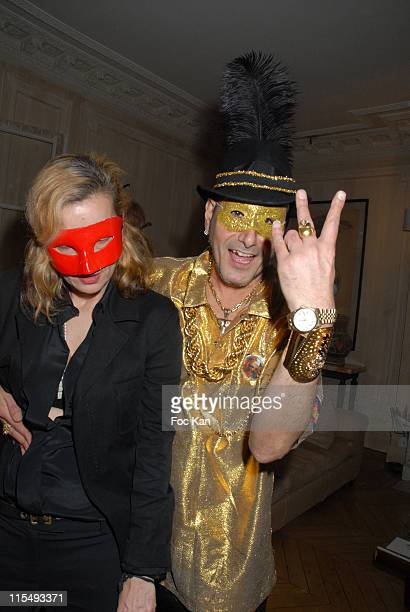 Frederique Lorca and DJ Claude Sabbah attend the Ellen Von Unwerth and Bridget Yorke Masked Birthday Party in a Private Flat Rue Francois 1er on...