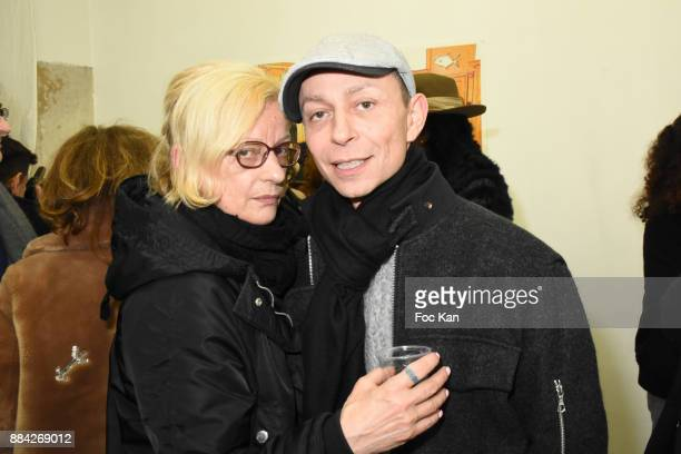 Frederique Lorca and Lola Mercier attend Lenedy Angot Calendar 2018 launch at Galerie Fabrice Hybert on December 1 2017 in Paris France