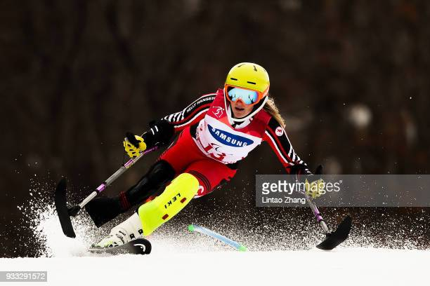 Frederique Turgeon of Canada competes in the Alpine Skiing Women's Slalom Run 1 Standing during day nine of the PyeongChang 2018 Paralympic Games on...