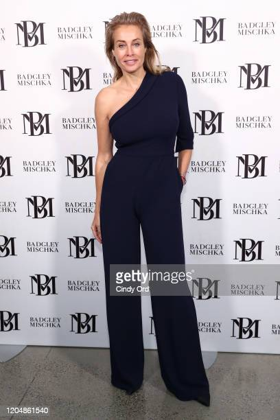 Frederique van der Wal poses backstage for Badgley Mischka during New York Fashion Week: The Shows at Gallery I at Spring Studios on February 08,...