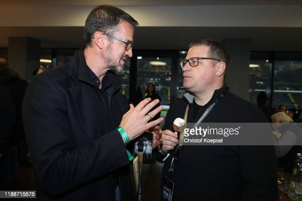 Fredi Bobic and Max Eberl attend the Club Of Former National Players Meeting at Commerzbank Arena on November 19, 2019 in Frankfurt am Main, Germany.