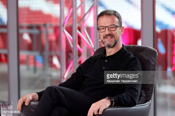 Fredi Bobic is seen on the stage during the Magenta TV EURO 2020 Media Day at Allianz Arena on May 11, 2021 in Munich, Germany.