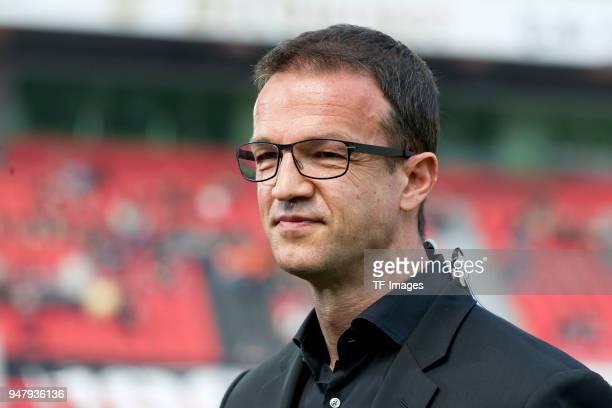 Fredi Bobic of Frankfurt looks on prior to the Bundesliga match between Bayer 04 Leverkusen and Eintracht Frankfurt at BayArena on April 14 2018 in...