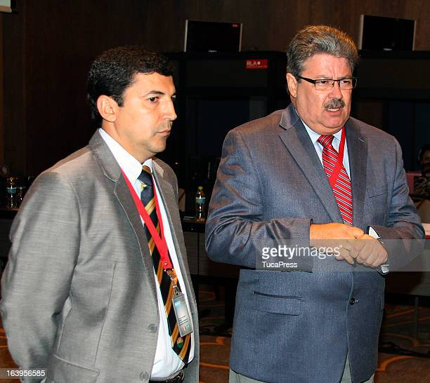 Fredie A Sanchez and Robson Lopes talk during the presentation of the XV Gimnasiada 2013 as part of XIX Sports Minister of America and Iberoamerica...