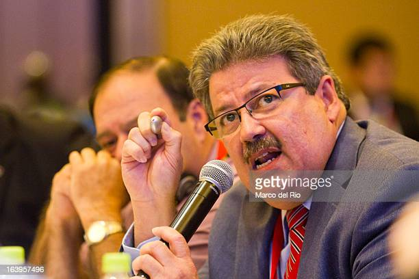 Fredie Sanchez of Puerto Rico talks during the CONCECADE presentation as part of XIX Sports Minister of America and Iberoamerica Meeting Organized by...
