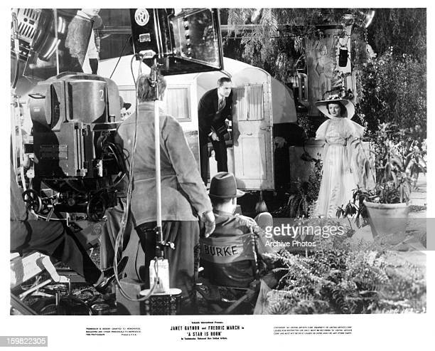 Fredric March and Janet Gaynor on set of the film 'A Star Is Born' 1937