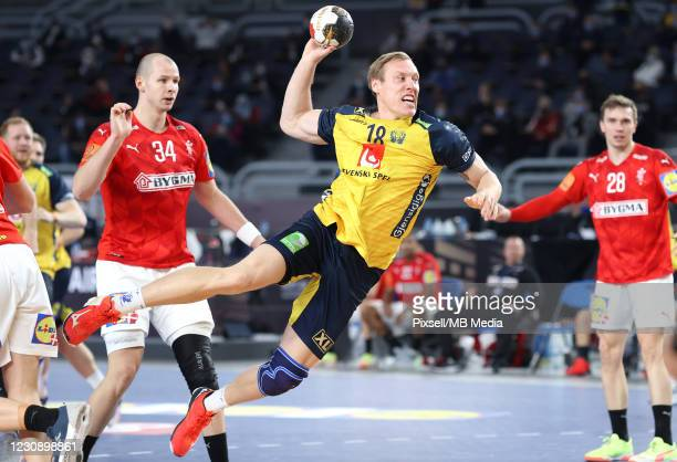 Fredric Pettersson from Sweden in action during the 27th IHF Men's World Championship final match between Denmark v Sweden - IHF Men's World...