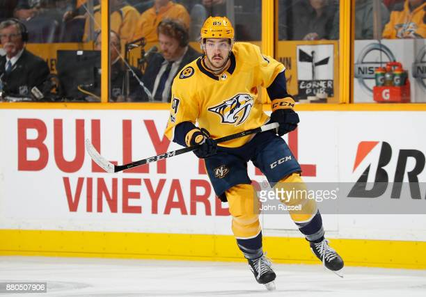 Fredrick Gaudreau of the Nashville Predators skates against the Montreal Canadiens during an NHL game at Bridgestone Arena on November 22 2017 in...