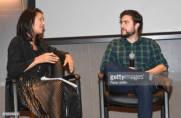 Fredricka Whitfield and Cameron McAllister onstage at the Loving Private Screening Conversation at National Center for Civil and Human Rights on...