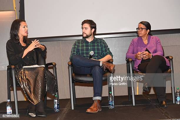 Fredricka Whitfield Cameron McAllister and Andrea Young onstage at the Loving Private Screening Conversation at National Center for Civil and Human...