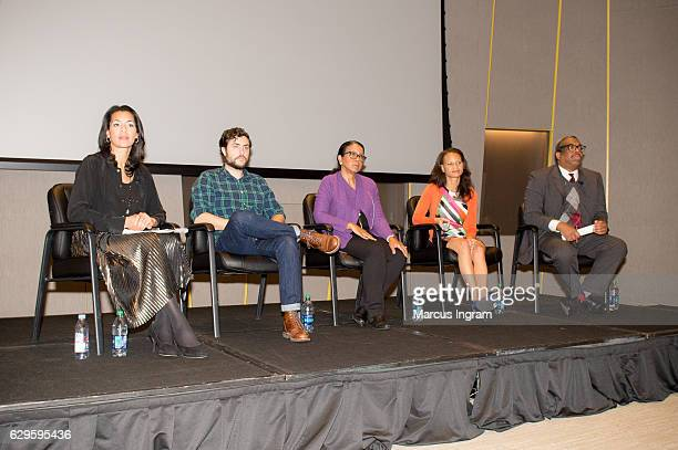 Fredricka Whitfield Cameron McAllister Andrea Young Adrienne White and Ernie Suggs attend the panel discussion Loving at National Center for Civil...