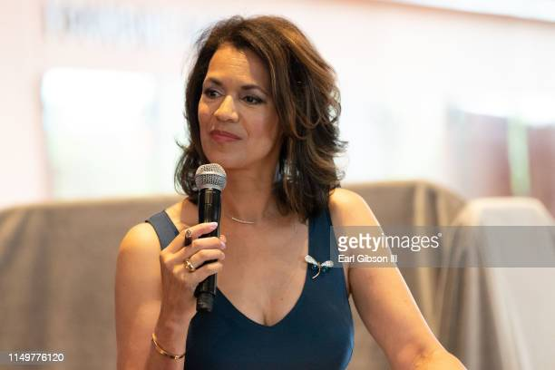 Fredricka Whitfield serves as moderator at the 2019 Women's E3 Summit at National Museum Of African American History Culture on June 13 2019 in...