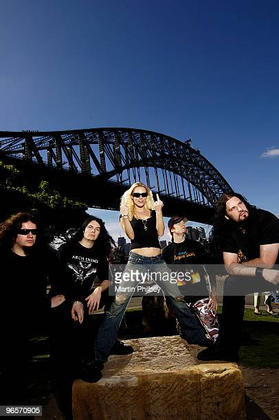 LR Fredrik Akesson Daniel Erlandsson Angela Gossow Michael Amott and Sharlee D'Angelo of Arch Enemy pose for a group portrait in November 2005 in...