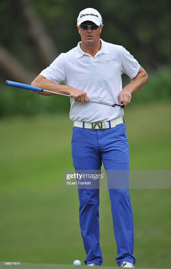 Fredrik Andersson Hed of Sweden ponders a putt during the third round of the UBS Hong Kong open at The Hong Kong Golf Club on November 17, 2012 in Hong Kong, Hong Kong.
