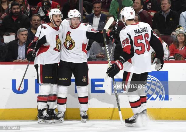 Fredrik Claesson and Matt Duchene of the Ottawa Senators celebrate after Duchene scored against the Chicago Blackhawks in the second period at the...