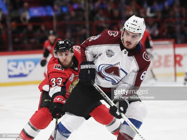 Fredrik Claesson of Ottawa Senators and Nail Yakupov of Colorado Avalanche during the 2017 SAP NHL Global Series match between Colorado Avalanche and...