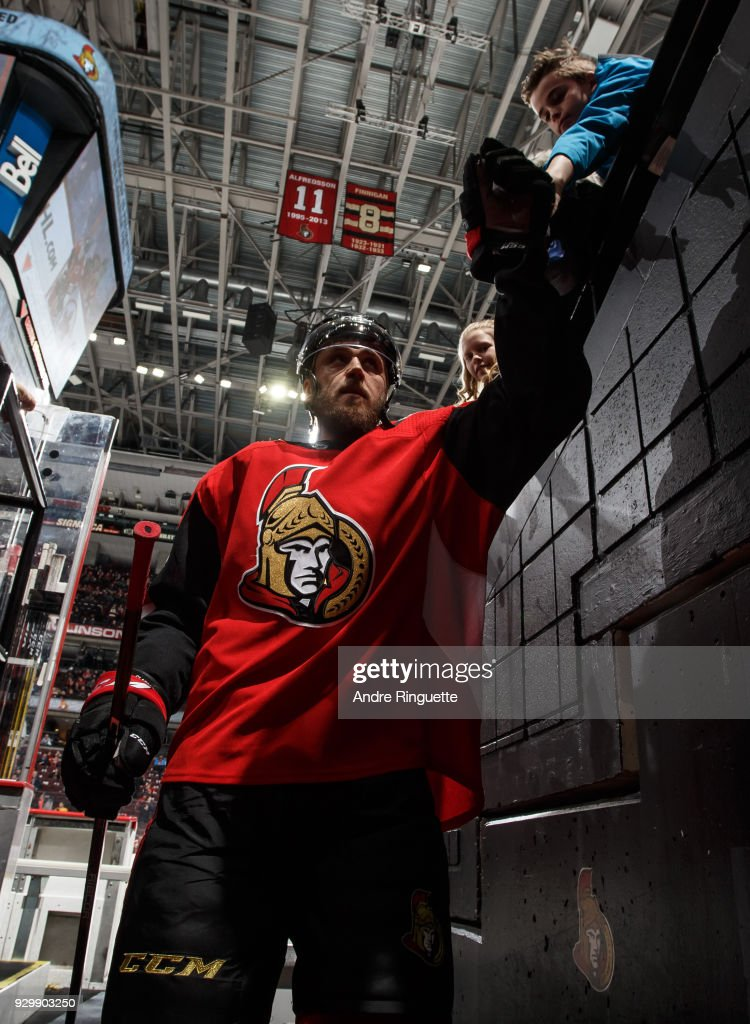 Fredrik Claesson #33 of the Ottawa Senators leaves the ice after warmup prior to a game against the Calgary Flames at Canadian Tire Centre on March 9, 2018 in Ottawa, Ontario, Canada.