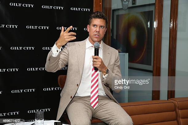 Fredrik Eklund speaks during the Gilt City celebration of his new book 'The Sell The Secrets Of Selling Anything To Anyone' on April 13 2015 in New...