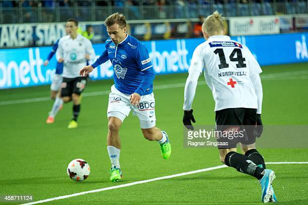 Fredrik Gulbrandsen of Molde FK in action during the Tippeligaen match between Molde FK and Odd Grenland on November 9 2014 in Molde Norway